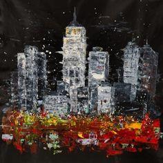 Toile de Michael Edery, New York sur fond noir