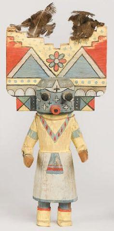 "Kachina POLI MANA "" kachina Fille papillon "" HOPI , circa 1960 Tableta"