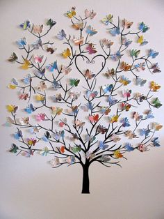 Mini Butterfly Tree created from a used copy of LOVE YOU FOREVER, the beloved classic by Robert Munsch. Tree of Mini Butterflies Upcycled Anne of Green Gables, Love You Forever or Your Choice of Book/Personalized at Bottom/Made to Order / picronom. 15 Way Butterfly Tree, Butterfly Wall Decor, Butterfly Decorations, Wall Decorations, Rainbow Butterfly, Origami Butterfly, Butterfly Canvas, Butterfly Place, Butterfly Crafts