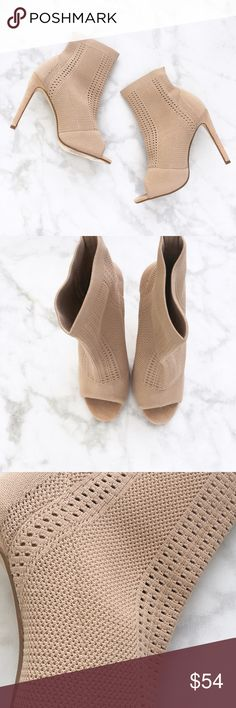 """NUDE KNIT PEEP TOE BOOTIES stretch knit upper Peep-toe Pull on style Runs true to size Approximate measurements: Heel 5"""", Opening 10"""". Price firm! All pictures shown are of actual product taken for Style Link Miami.  ORDER DOWN. RUNS BIG.  PRICE FIRM Style Link Miami Shoes Ankle Boots & Booties"""