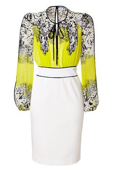 BLUMARINEWhite/Lemon/Multi Silk Dress - God, how I truly love this dress! I even know the perfect shoes I'd wear with it.