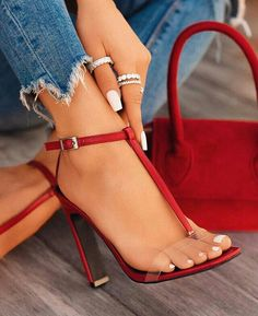 Red Ankle Strap Sandals With Transparent Line ★ Red heels are a classic choice that pairs well with any outfit. Whether chunky heels or elegant pumps with lace, they are fab in a wine hue. Source by keeyahri fashion heels Stilettos, Pumps Heels, Stiletto Heels, Lace Heels, High Heel Pumps, Hot Shoes, Women's Shoes, Me Too Shoes, Dress Shoes