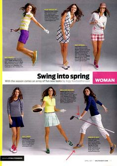 GOLF DIGEST Apr 2011 I like all the outfits on the bottom row.