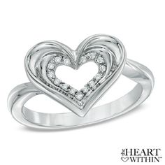 The Heart Within™ Diamond Accent Heart Ring in Sterling Silver -From Zales