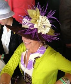 Kentucky Derby Dress Hats, Derby Hats, Fashion Hats - Lady Diane Hats my color scheme! Kentucky Derby Dress, Kentucky Derby Fashion, Derby Attire, Derby Outfits, Ascot Hats, Tea Party Hats, Derby Day, Church Hats, Fancy Hats