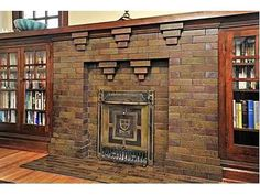 arts and crafts brick fireplace with an english influence Craftsman Fireplace, Home Fireplace, Brick Fireplace, Fireplaces, Craftsman Style Homes, Craftsman Bungalows, Craftsman Decor, Arts And Crafts Furniture, American Craftsman