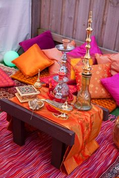 Love this hookah loungy space, what beautiful colors fuschia and tangerine are so gorgeous together!