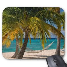 Palm Trees And Hammock Along Seven-Mile Beach Mouse Pad Mouse Mat Design Natural Eco Rubber Durable Computer Desk Stationery Accessories Mouse Pads For Gift Desk Stationery, Luxury Office, Grand Cayman, West Indies, Cayman Islands, Palm Trees, Beach, Nature, Hammocks