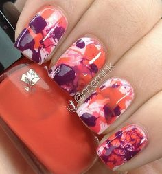 Watercolor marble nail art. Marble nail art uses the motion of water to create its shape; you can also use to paint watercolor style on your nails. Add more drama by giving a paint drip watercolor effect on the polishes you use.