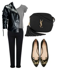Casual day to evening outfit by alisha-hanif on Polyvore featuring polyvore, fashion, style, Leka, Current/Elliott, Kate Spade, Yves Saint Laurent and clothing