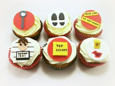 Spy Party Fondant Cupcake Toppers, Police Party Decor, Spy Birthday, Detective Party, Police Birthday, Vegan Edible Toppers - 12 pcs