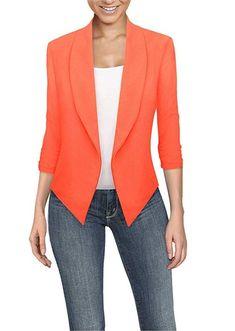 HyBrid Womens Casual Work Office Open Front Cardigan Blazer Jacket Made in USA (Neon Pink) - Blazers For Women, Blouses For Women, Women Blazer, Zara Mode, Evening Blouses, Silk T Shirt, Zara Fashion, Plus Size Maxi Dresses, Jackett