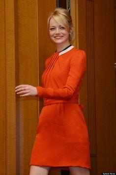 little red dress- Emma Stone in Rue du Mail