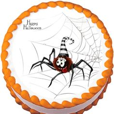 Cartoon Spider on Web Edible Cake Topper | My Party Helpers | http://mypartyhelpers.com/products/cartoon-spider-on-web-halloween-edible-cake-topper