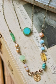 Libby. bohemian beaded layering charm necklace. by tiedupmemories, $58.00