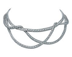 #TiffanyAndCo - #Tiffany - #Necklace from #TiffanyMasterpieces 2016 - #FineJewelry collection in platinum set with #BrilliantCut and #SquareCut - #Diamonds - #TiffanyRibbons