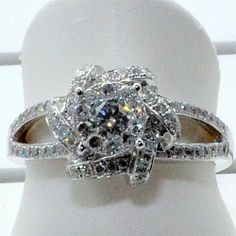 Amazon.com: 14K White Gold Engagement Ring Round Solitaire 0.83ctw split shoulder vintage: Jewelry