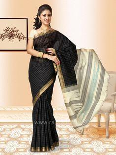 80011b48b63d23 Black and Cream Checks Weaved Saree  rajwadi  silksaree  saree  sareeswag   FeelRoyal