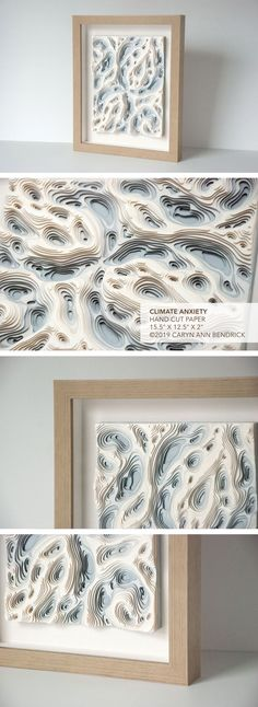 """CLIMATE ANXIETY Hand Cut Paper 15.5"""" x 12.5"""" x 2"""" ©2019 Caryn Ann Bendrick CLIMATE ANXIETY is a one-of-a-kind work of original art featuring 16 hand-cut layers of pearlescent card-stock. The piece is spaced with custom cut pH neutral foam spacers, assembled with PVA, and professionally framed in a custom wood, linen-lined shadow box frame with museum glass. Anti-glare museum glass gives the impression that there is nothing there, while it provides protection against UV to avoid fade. Modern Art, Contemporary Art, Paper Cutting, Cut Paper, Shadow Box Frames, Paper Artist, Art Object, Custom Wood, Card Stock"""