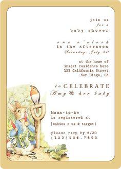 Peter Rabbit Baby Shower Invitation by SJJohnstone on Etsy