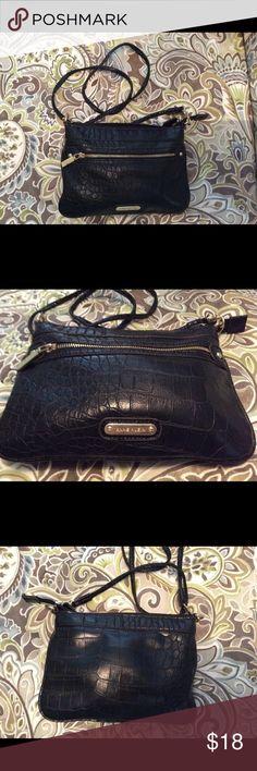 Cross Body Anne Klein Faux Croc Bag Excellent condition. Black faux croc Anne Klein Bags Crossbody Bags
