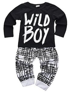 6004f60c0f4ae Baby Boys Clothes Set Short Sleeve Wild Boy TShirt Pants Outfit Winter  Spring Black 6 12 Months Tag Size 80 ** You can find more details by  visiting the ...