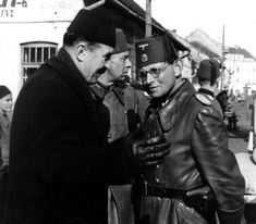 SS-Brigadeführer und Generalmajor der Waffen-SS Karl-Gustav Sauberzweig, commander of the Handschar Division, on the right photographed in 1944.