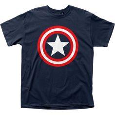 Captain America Marvel Superhero Comics Shield on Navy Adult T-Shirt Tee