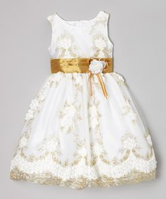 White & Gold Floral Embroidered Dress - Infant, Toddler & Girls by Kid Fashion #zulily #zulilyfinds