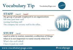 Vocabulary tip - Staff Vs Stuff