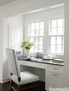 Kitchen desk area. Design: Mick de Giulio. Photo: Julian Wass. housebeautiful.com. #white #desk #built-in-desk #kitchen