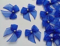 "1"" (W) Royal Blue Organza Ribbon Bows W/ Bead-50 Pcs-Crafts / Appliques-R0120Dr Satin Ribbon Flowers, Ribbon Art, Organza Ribbon, Ribbon Crafts, Ribbon Bows, Fork Bow, Baby Hair Bands, Corsage Wedding, Boutique Hair Bows"