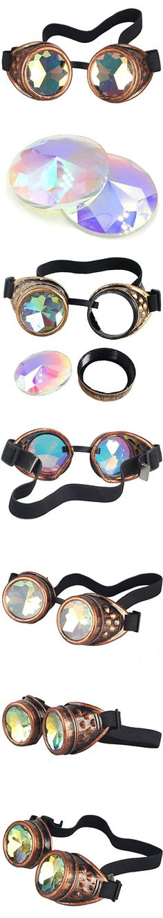 Lelinta Steampunk Rave Glasses Goggles with Rainbow Crystal Glass Lens,Red Copper,Adjustable