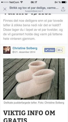 Tøfler Whippet, Diy And Crafts, Slippers, Knitting, Sneaker, Tricot, Cast On Knitting, Slipper, Knitting And Crocheting
