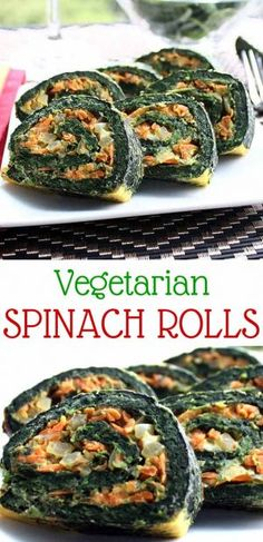 Vegetarian Spinach Rolls – This is our favorite vegetarian recipe! It's easy, savory and filling and can be spiced up in a lot of different ways. Super yummy! │ TheFitBlog.com