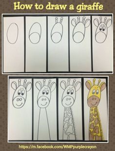 Step by step how to draw a giraffe. My 2nd and 3rd graders made these. Easy and fun! http://m.facebook.com/WMPpurplecrayon
