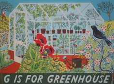 g is for greenhouse, c2012, Emily Sutton, screen print, 53 x 71 in., penfold press, Yorkshire, UK.