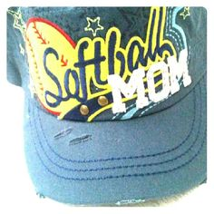 Softball Mom's Cap Blue softball mom cap. Embroidery lettering. Mom letters contain fashion bling. Adjustable back. Weathered look. Brand new never worn Accessories Hats