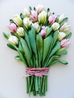 Etsy の Bouquet of tulips silk ribbon embroidery by StudioSilkRose
