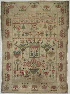 18TH CENTURY SILK WORK SAMPLER BY ELIZABETH ANDERSON 1775