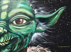 Yoda May the Fourth Paint Along on Youtube with the art sherpa . Easy star wars painting for beginners