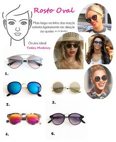 Óculos de Sol Ideal para Cada Tipo de Rosto Oval Maquiagem Para Rosto Oval,  Maquiagem 45394e4871