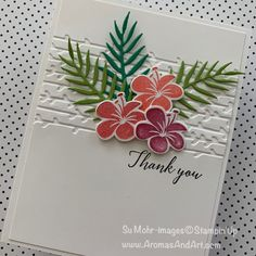 This is card Number 2 ferns are granny apple green and call me clover, the flowers are poppy parade, real red, and berry burst she stamped off first so they were not such harsh colors and the thank you is in black. Scrapbooking, Scrapbook Cards, Note Cards, Thank You Cards, Karten Diy, Thanks Card, Hibiscus, Birthday Cards, Teen Birthday