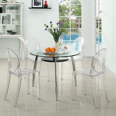 Modway Philippe Starck Style Victoria Ghost Chair Set of 4 Acrylic Dining Chairs, Clear Dining Chairs, Dining Arm Chair, Dining Room Chairs, Dining Room Furniture, Side Chairs, Dining Table, Modern Furniture, Kitchen Dining