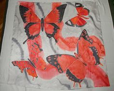 90 x 90 cm silk scarf painted.