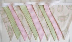Sweet Bunting/Fabric Flags Banner Girls by MariaClaireInteriors
