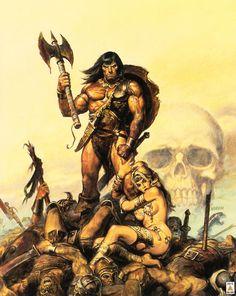Conan il Barbaro in un'immagine di Frank Frazetta Dark Fantasy Art, Fantasy Anime, Fantasy Kunst, High Fantasy, Fantasy Artwork, Fantasy Comics, Boris Vallejo, Marvel Comics, Bd Comics