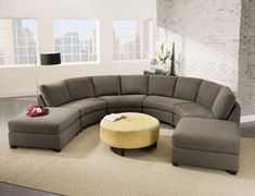 Lounge in style around the Bauhaus Lawrence Sectional – Granite . Crafted with a solid wood frame, this sectional comes upholstered in granite. Furniture, Sectional Sofa, Couch Design, Curved Couch, Sectional Sofa Comfy, Man Cave Sofa, Living Room Seating, Round Sofa, Round Living Room