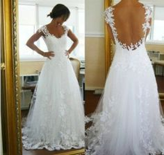 New High-end Cathedral white/ivory court train wedding Bridal Cap Sleeve Dress