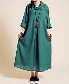 Linen Pile collar loose long sleeved long dress/ spring Maternity Dress/ linen robe